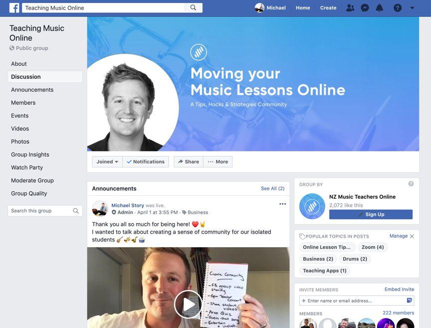 Teaching Music Online Facebook Group